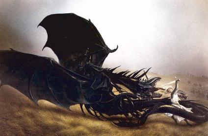 Eowyn and Nazgul on Fell Beast